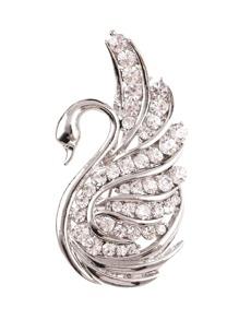 Swan Design Rhinestone Brooch