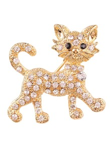 Rhinestone Cat Design Brooch