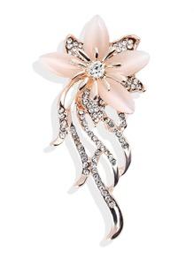 Flower Design Brooch With Rhinestone