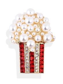 Faux Pearl Popcorn Shaped Brooch