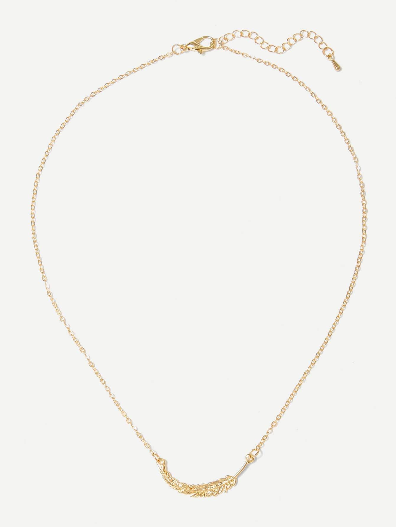 перо тонкоеожерелье Золотые Ожерелья от SheIn