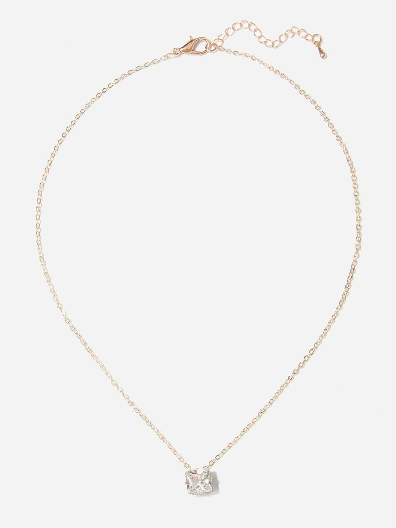Rhinestone Pendant Necklace rhinestone bar pendant necklace