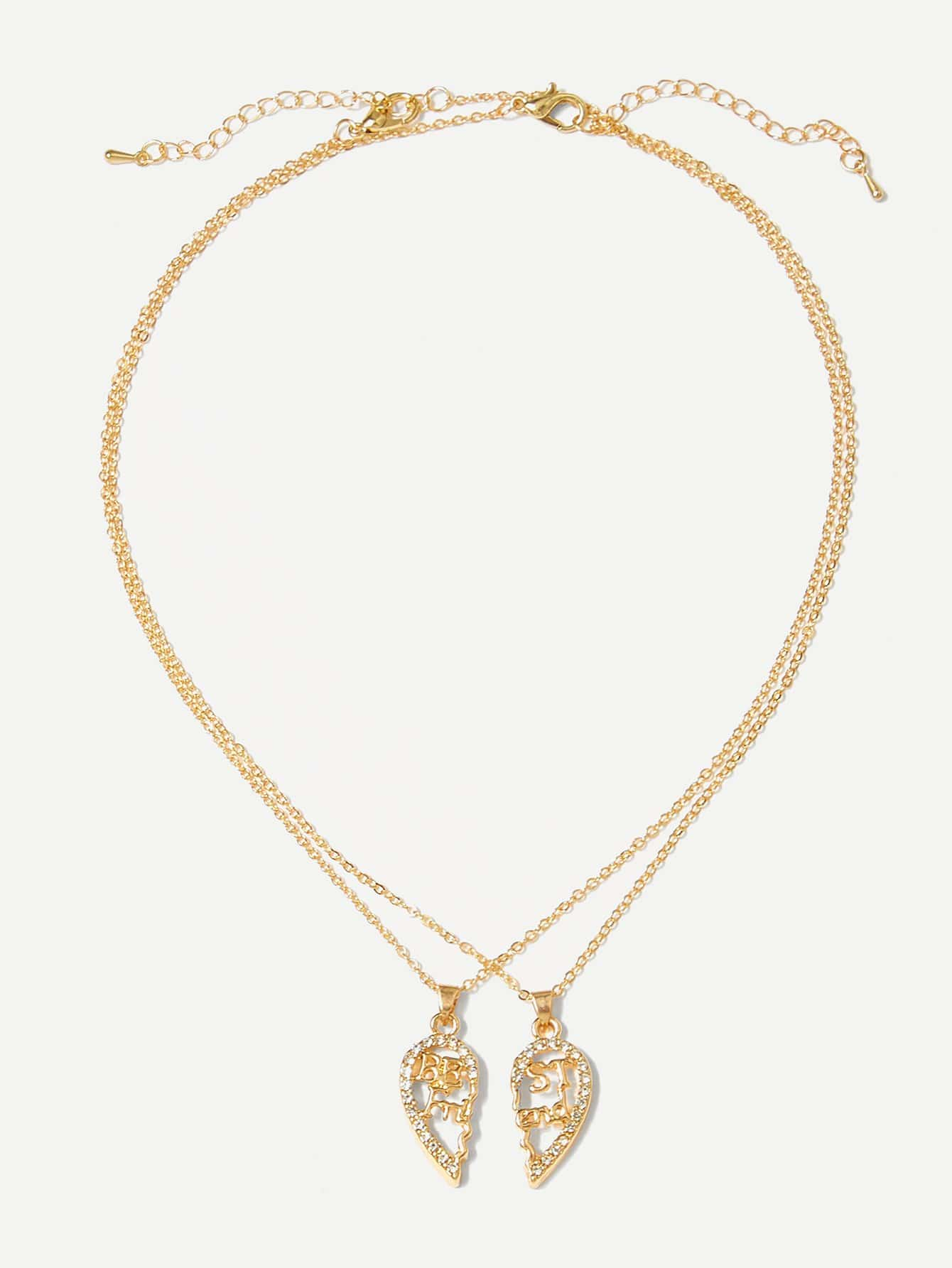 Hollow Heart Pendant Couple Necklace 2pcs hollow heart pendant necklace set 3pcs