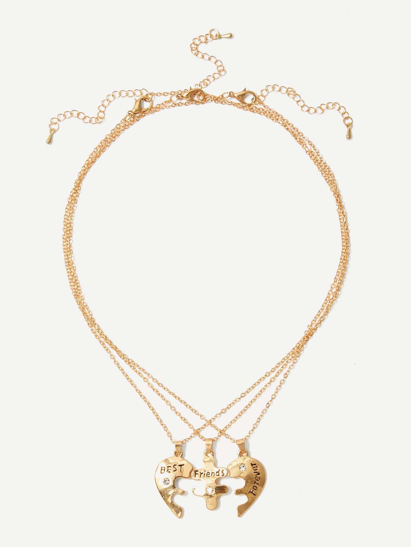Jigsaw Anhänger Halskette Set 3pcs