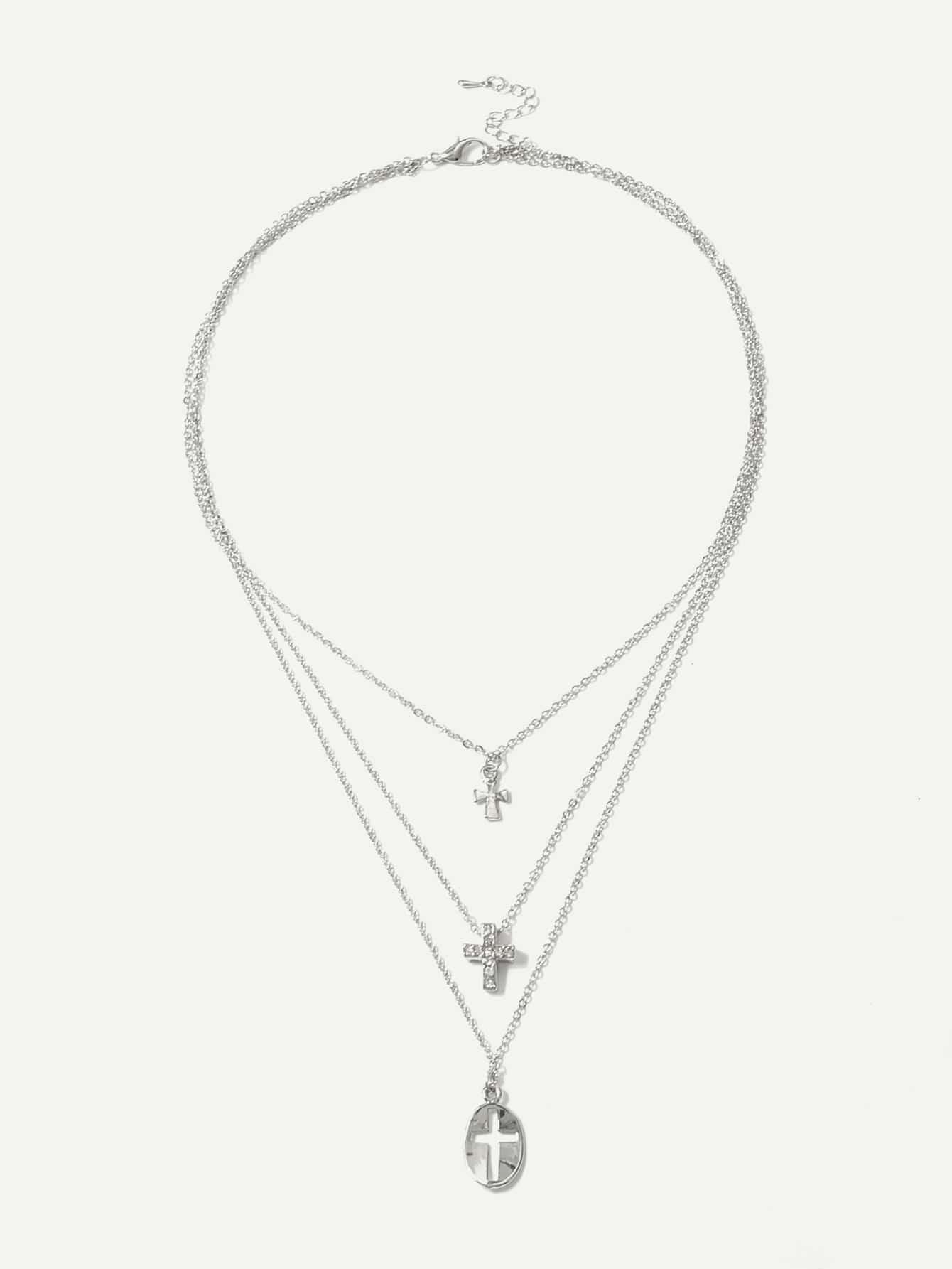 Kreuz Anhänger geschichteten Kette Halskette