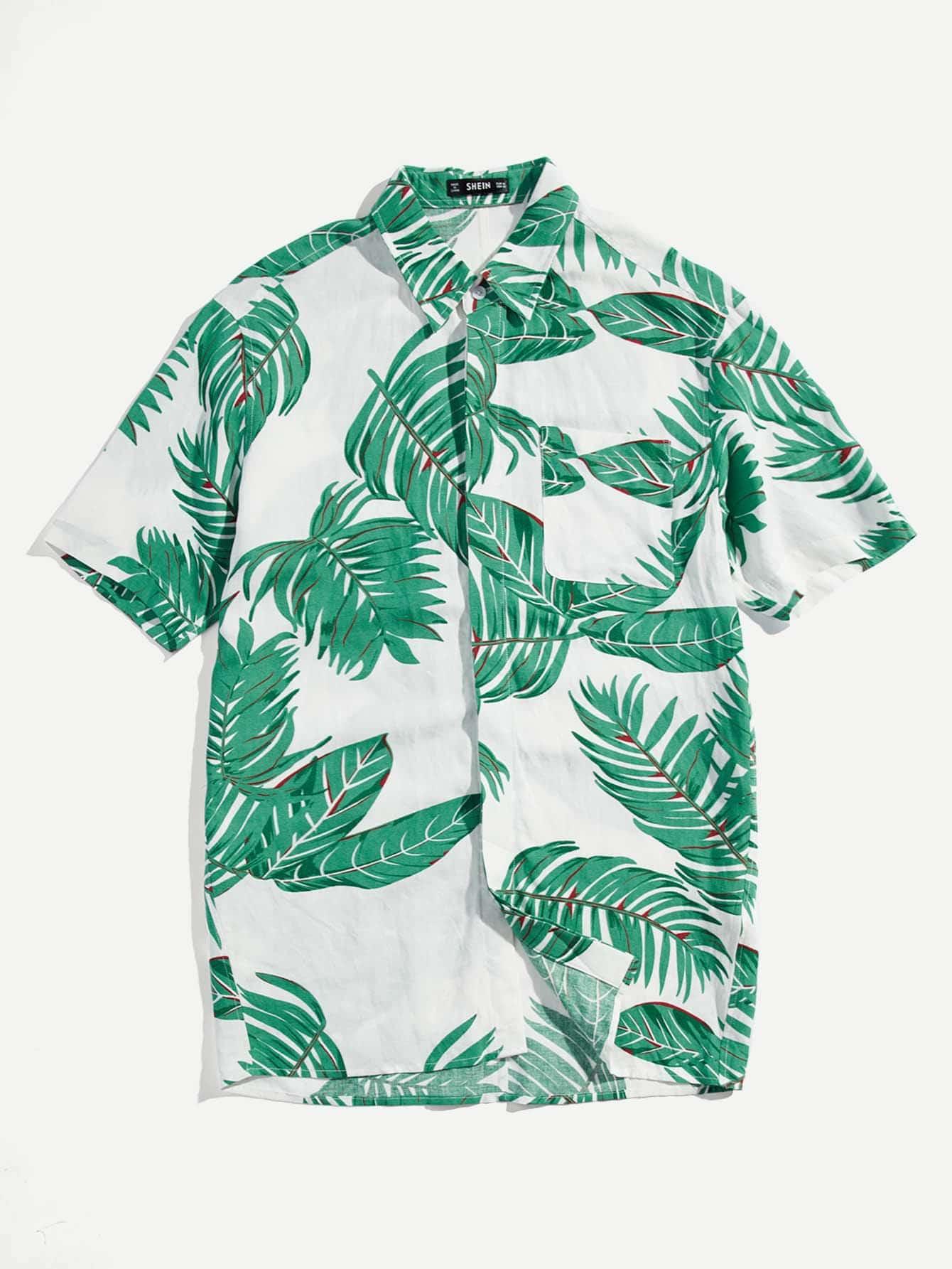 Men Leaf Print Shirt все цены