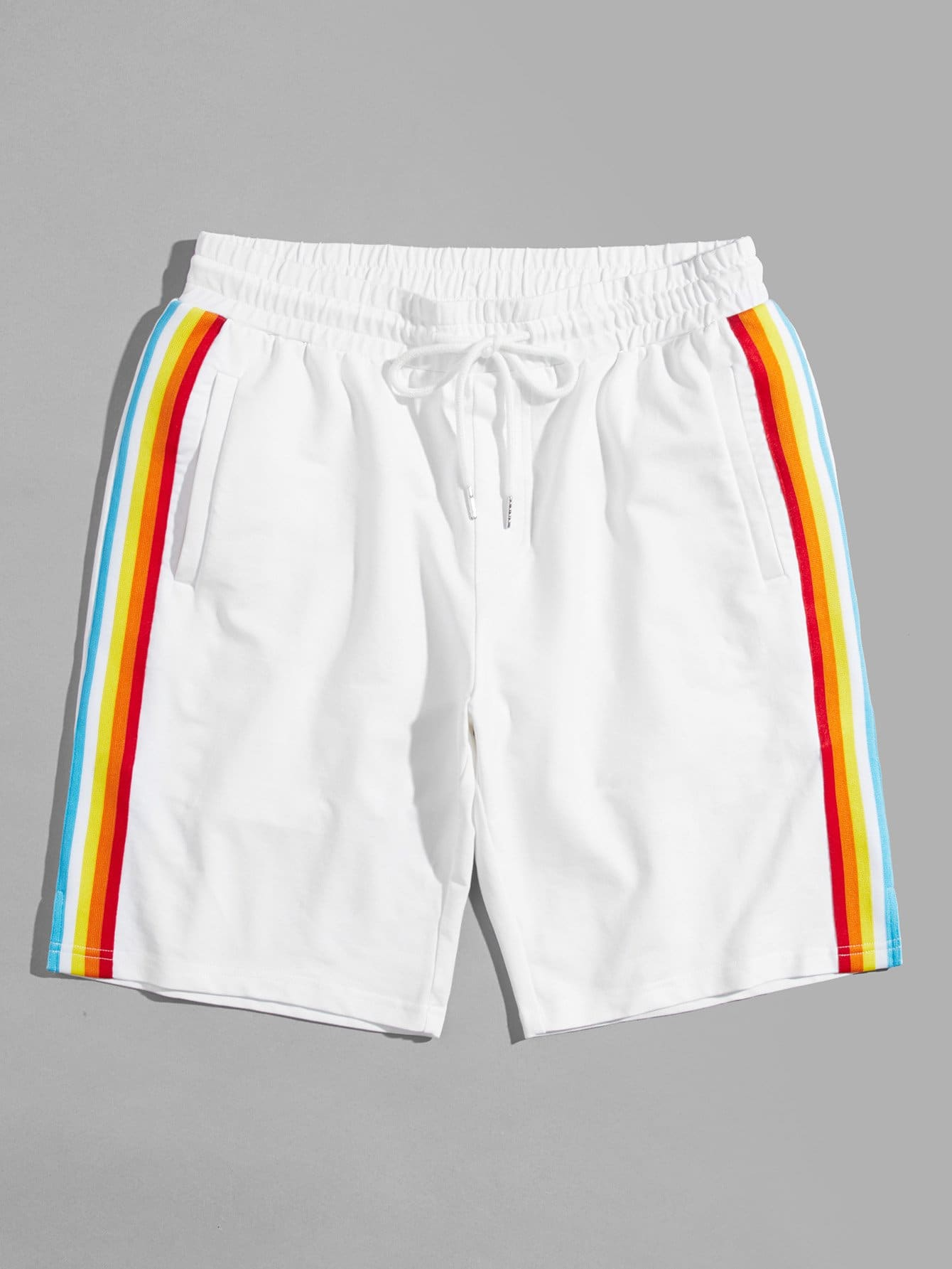 Men Rainbow Striped Side Drawstring Waist Shorts men striped tape side drawstring shorts