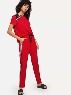 Cut and Sew Top & Drawstring Waist Striped Side Pants Set