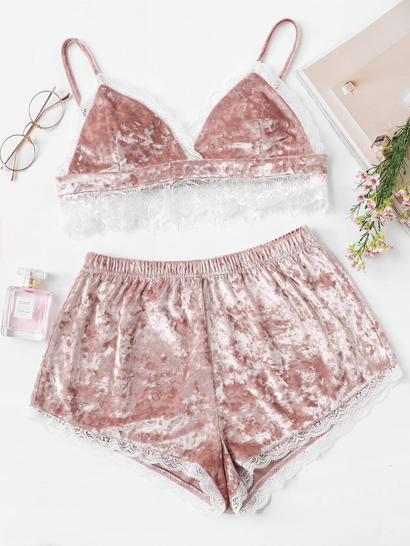 Eyelash Lace Trim Velvet Cami Top and Shorts PJ Set crushed velvet top and shorts set