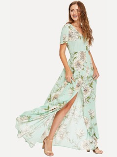 Button Up V Neck Floral Maxi Dress