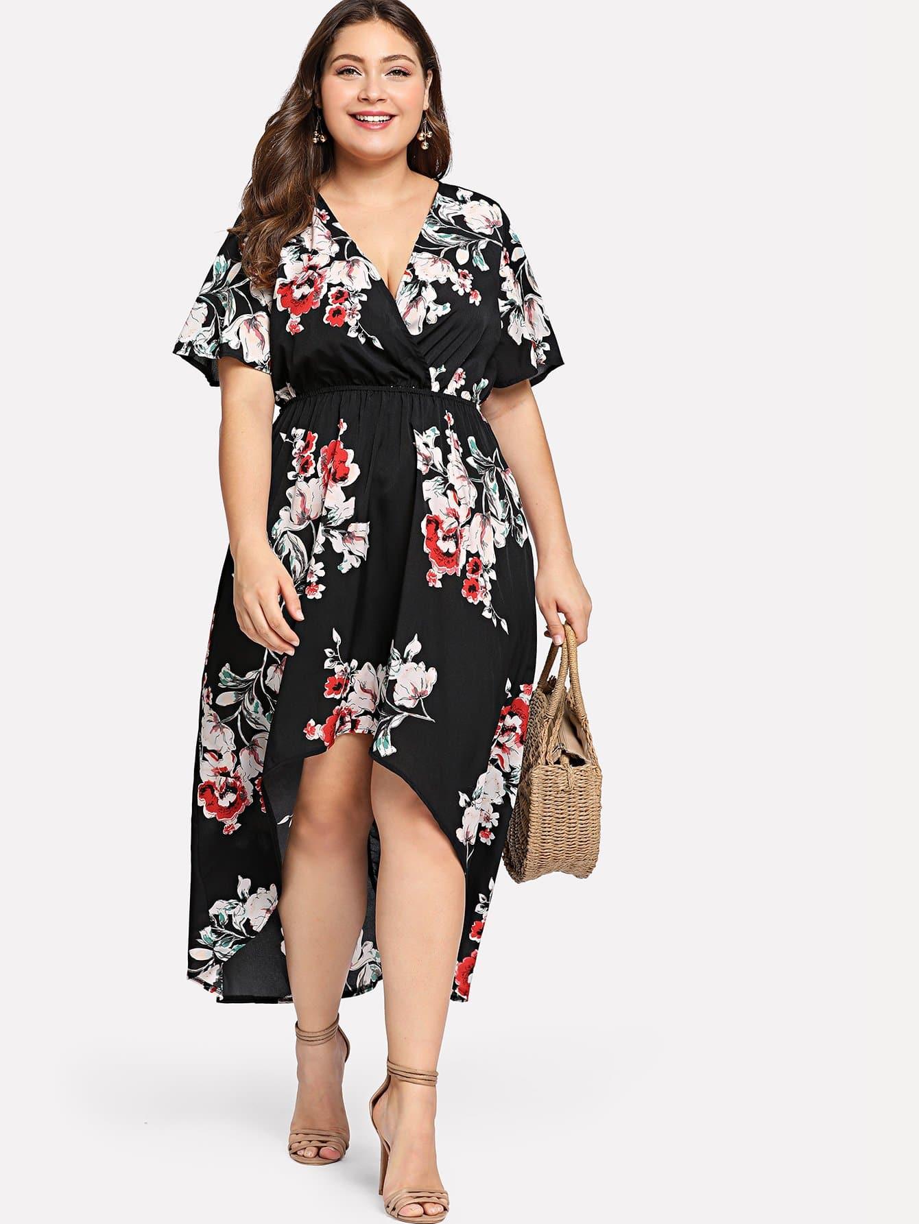 Surplice Neck Floral Dip Hem Dress cowl neck dip hem swing dress