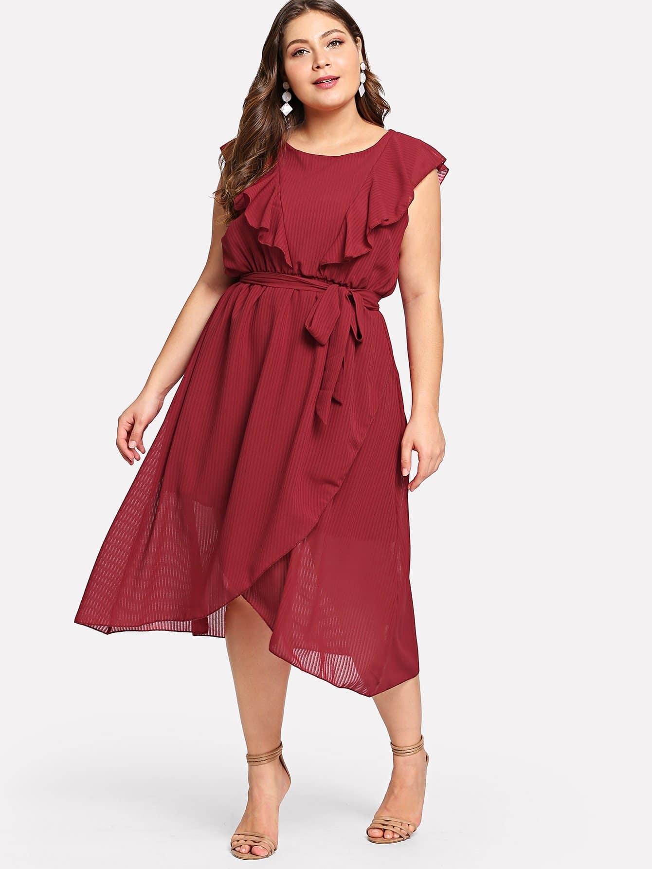 Flounce Trim Asymmetrical Wrap Hem Belted Dress flounce hem belted pinstripe cami dress