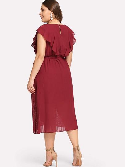 Plus Flounce Trim Asymmetrical Wrap Hem Belted Dress