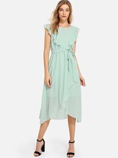 Flounce Trim Asymmetrical Wrap Hem Belted Dress