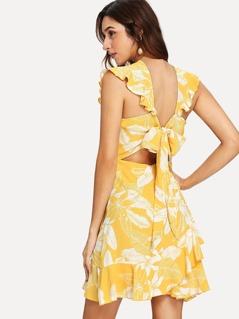 Layered Ruffle Wrap Tropical Print Dress