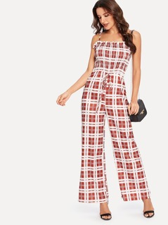 Frilled Trim Wide Leg Checked Cami Jumpsuit