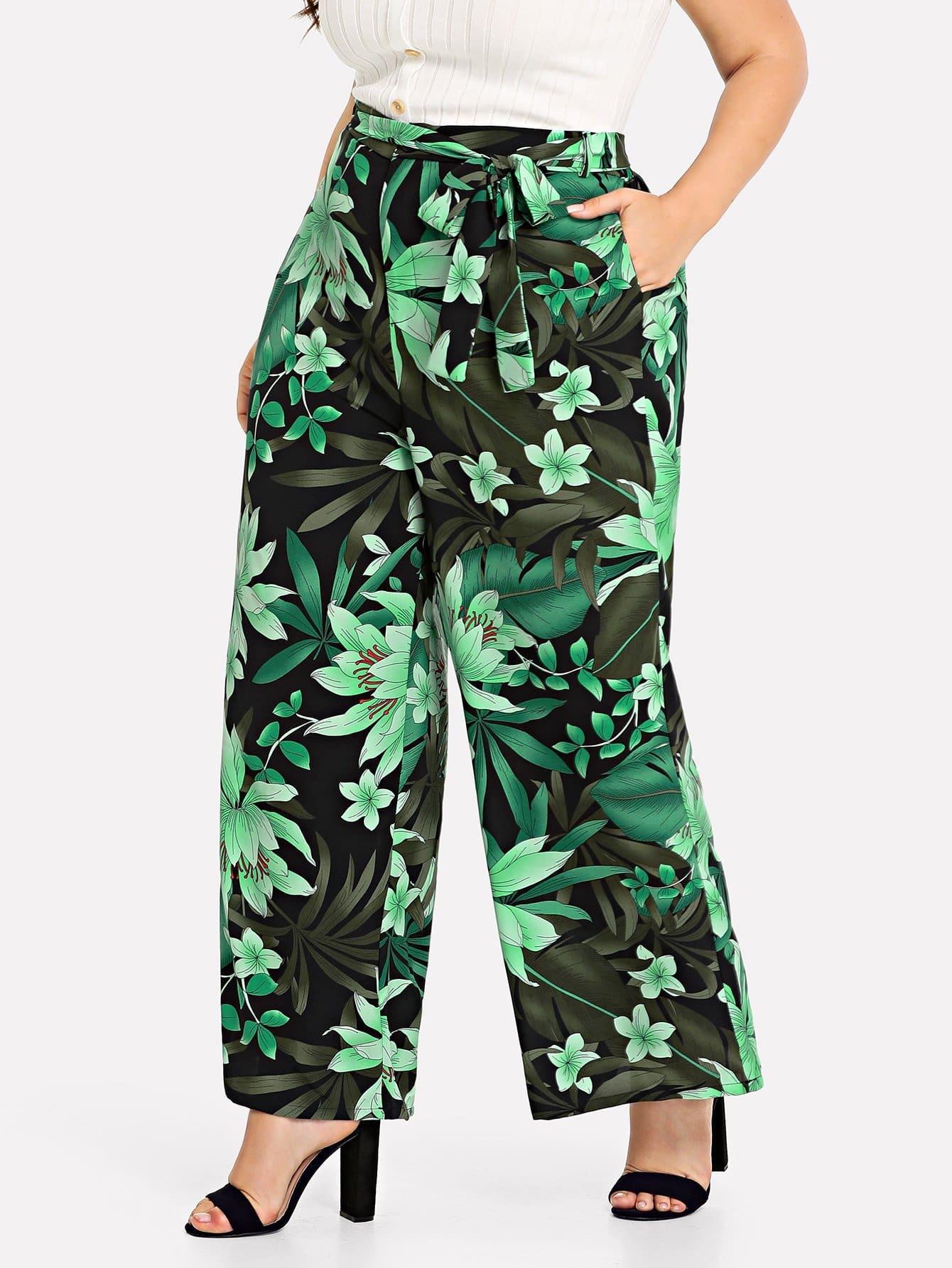 Купить Ботанические брюки с широкими ногами, Franziska, SheIn
