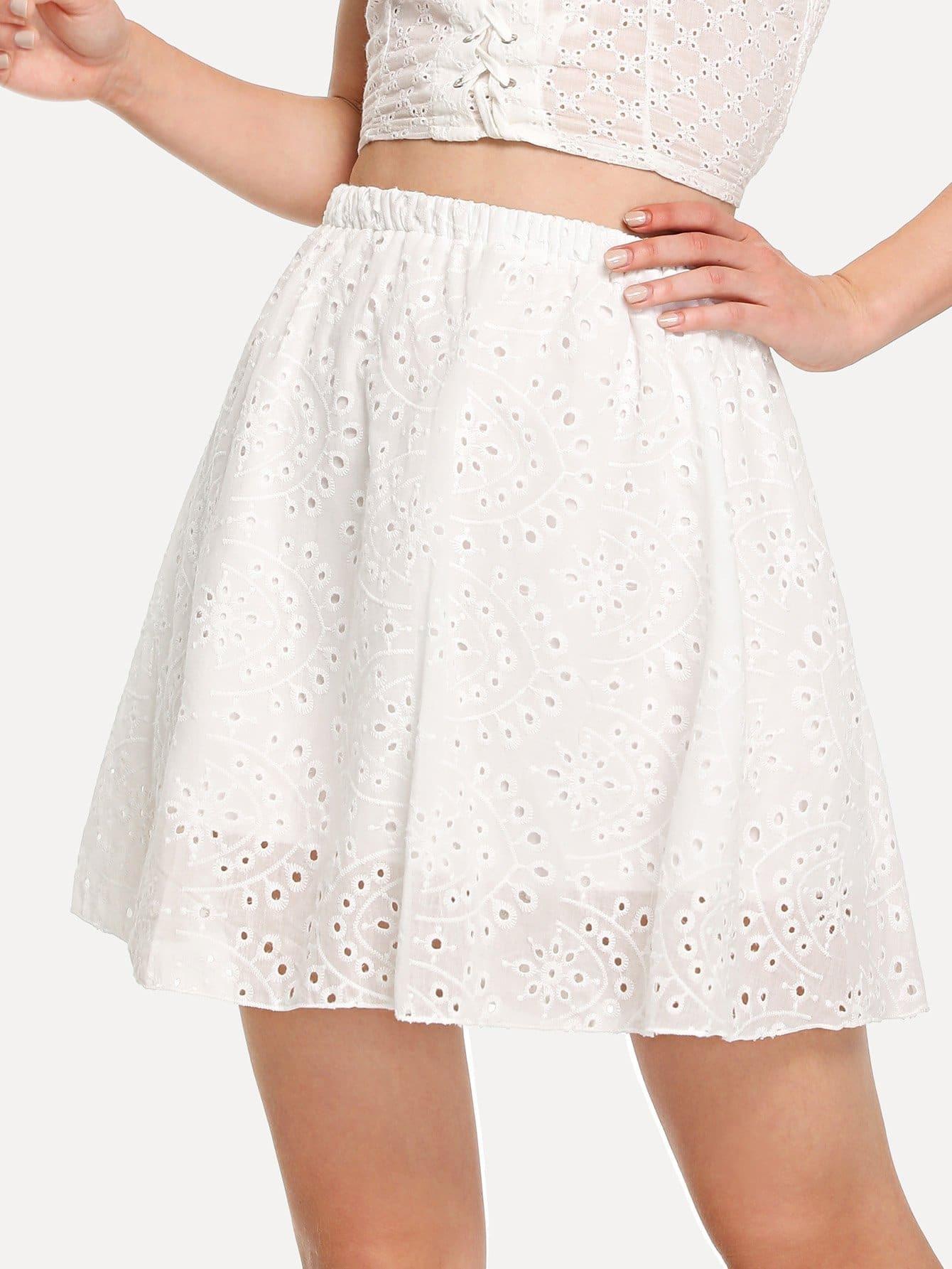 Elastic Waist Eyelet Embroidered Skirt цена 2017