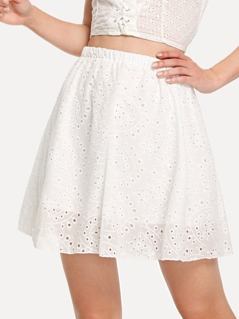 Elastic Waist Eyelet Embroidered Skirt