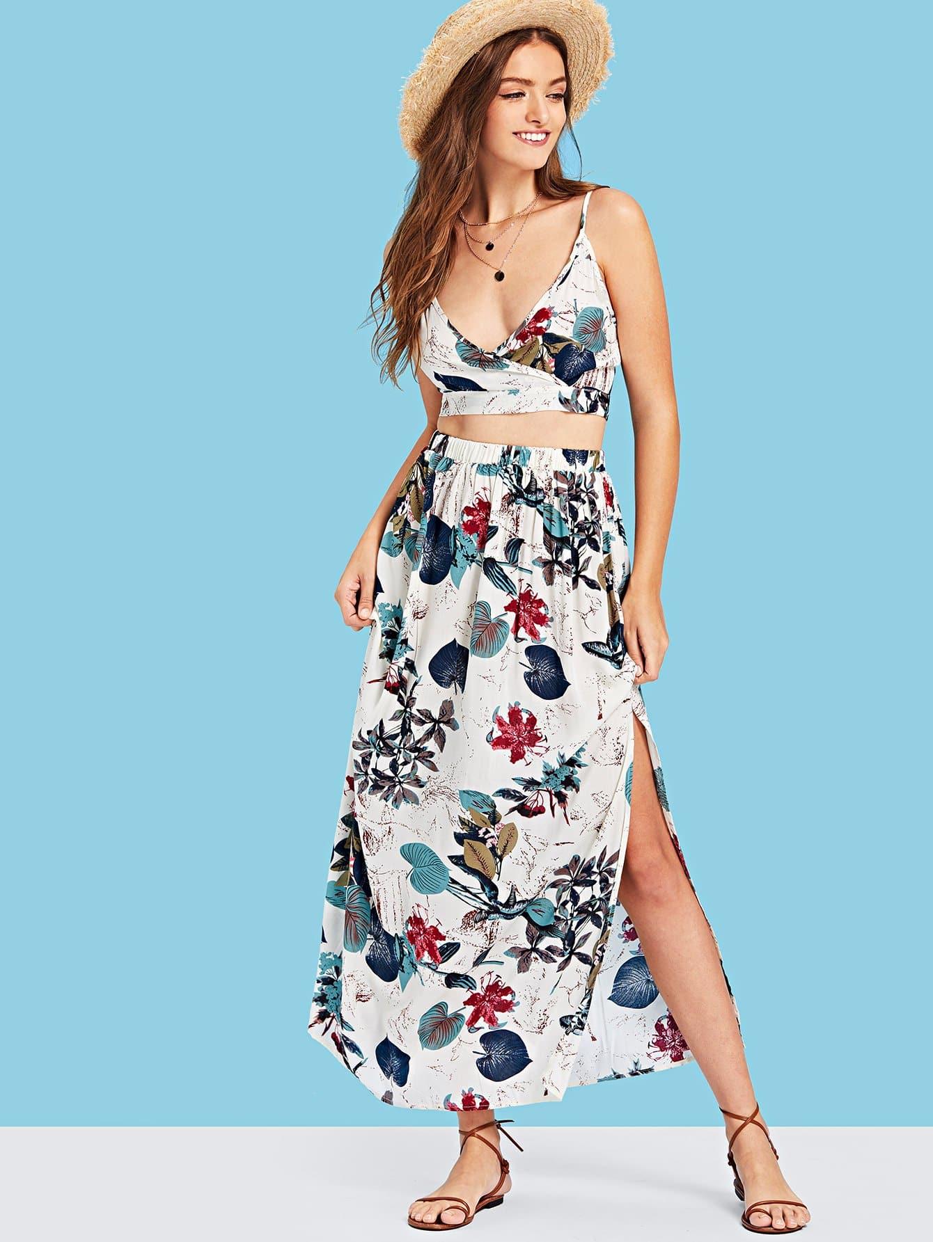 Botanical Print Surplice Wrap Crop Top and Skirt Set cherry print surplice wrap top