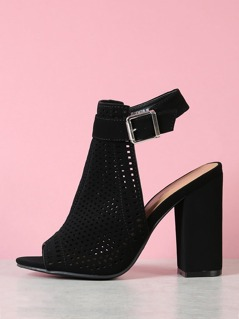 Perforated Cutout Chunky Mule Heel