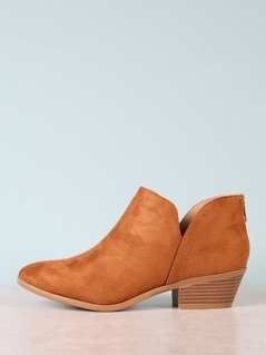 Vegan Suede Low Side Slit Block Heel Booties