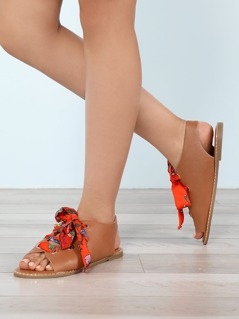 Floral Scarf Tie Lace-Up Gladiator Sandals