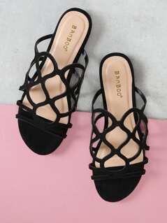 Vegan Suede Swirl Cutout Caged Flat Sandals