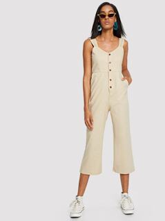 Bow Tied Back Button Up Thick Strap Jumpsuit