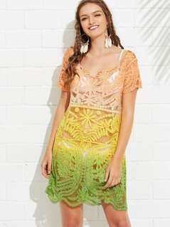 Ombre Embroidery Sheer Cover Up Kimono