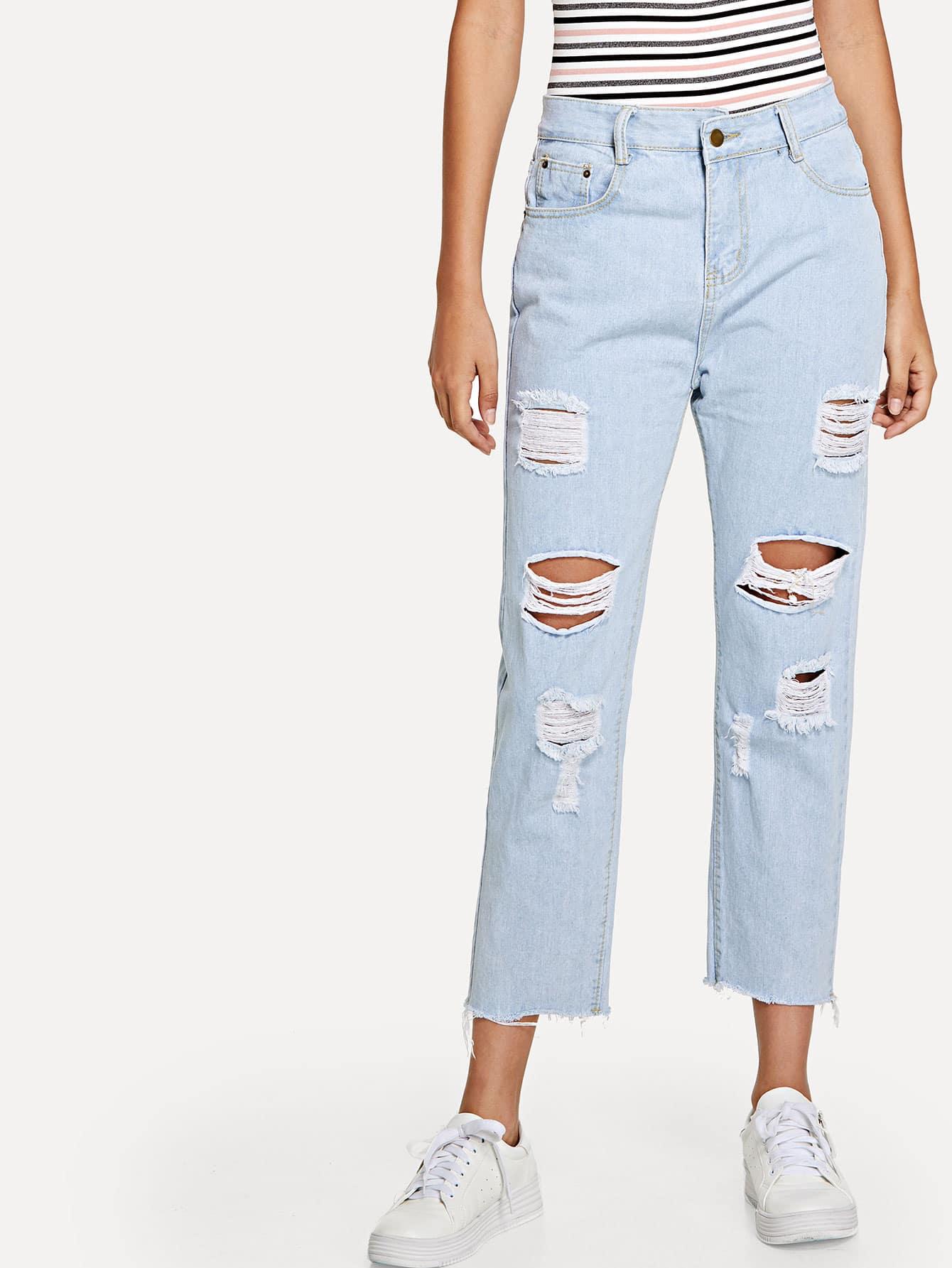 Raw Hem Ripped Wide Leg Jeans wide striped ripped dress