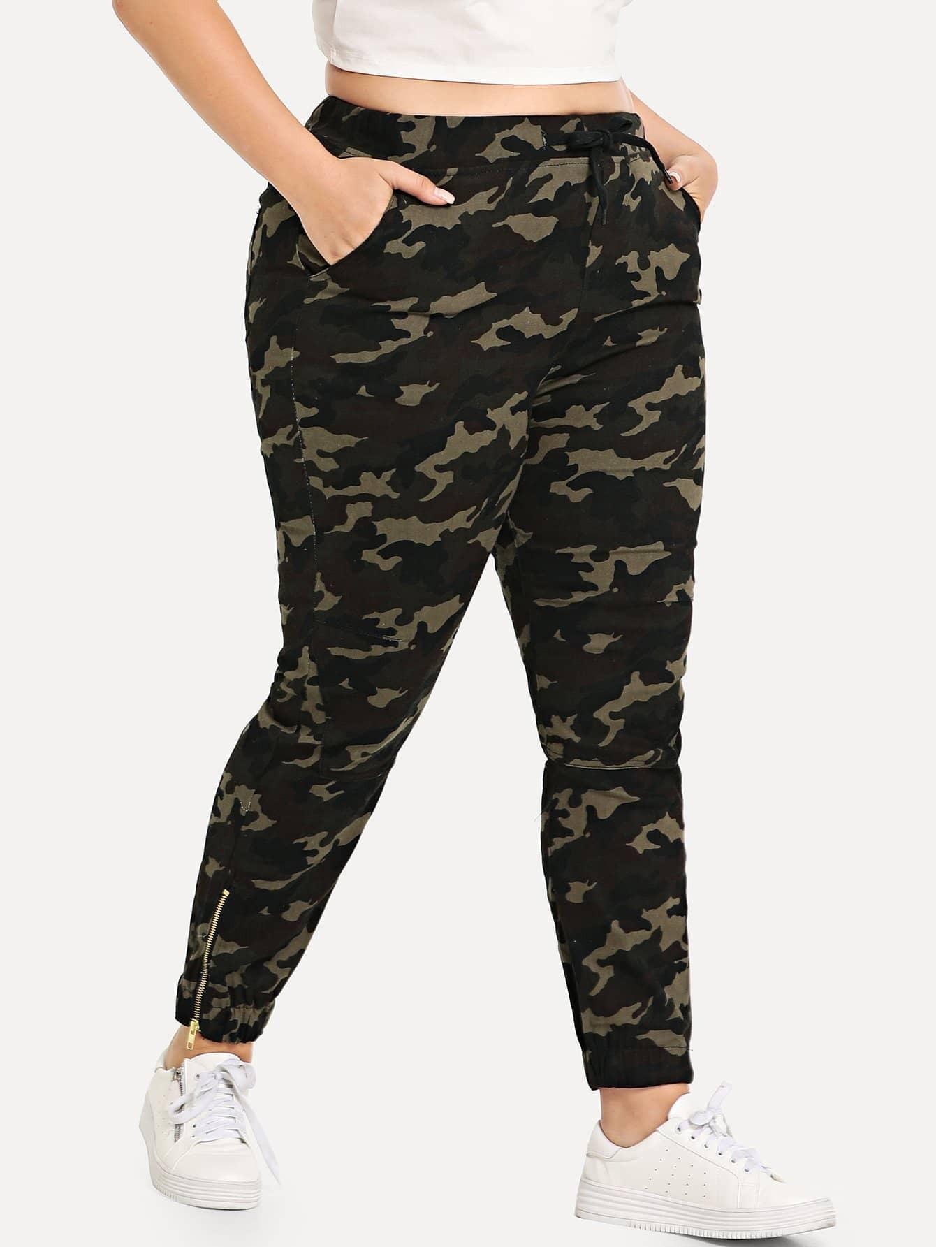 Купить Drawstring Талия Camo Zip Side Jeans, Franziska, SheIn