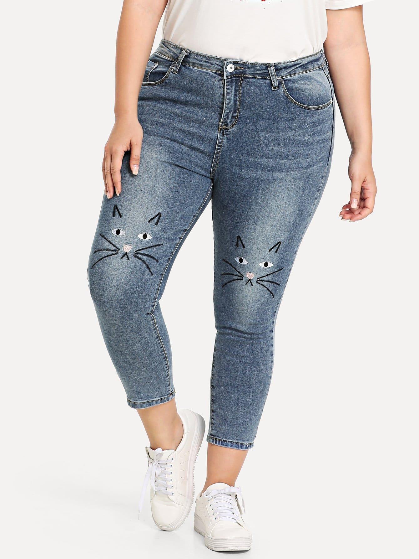 Купить Кошка вышитые тощие джинсы, Franziska, SheIn