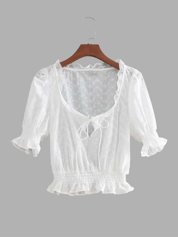 Eyelet Embroidered Ruffle Trim Crop Blouse ruffle long sleeve crop bandeau blouse