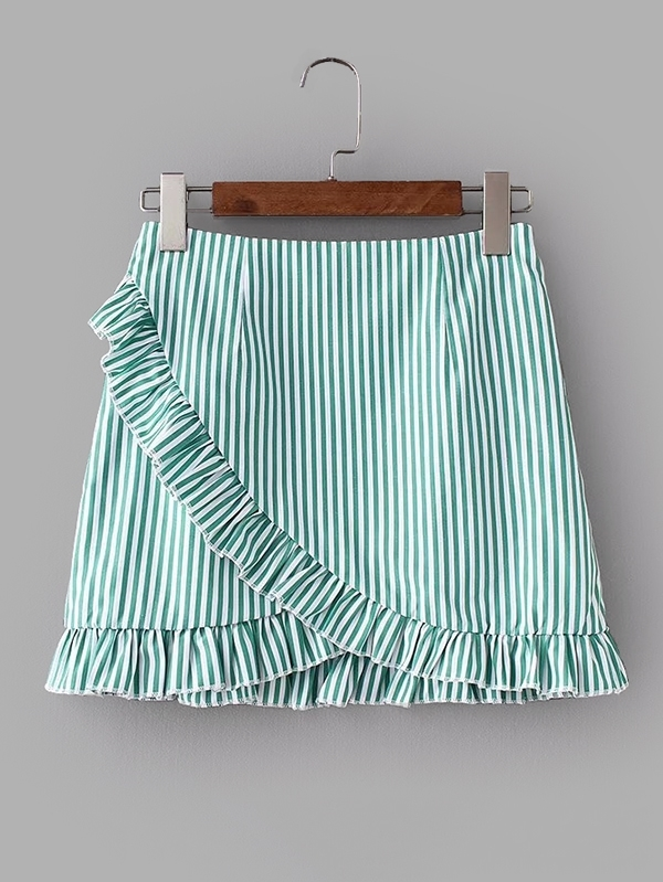 Vertical-Striped Ruffle Trim Overlap Skirt striped ruffle hem overlap skirt