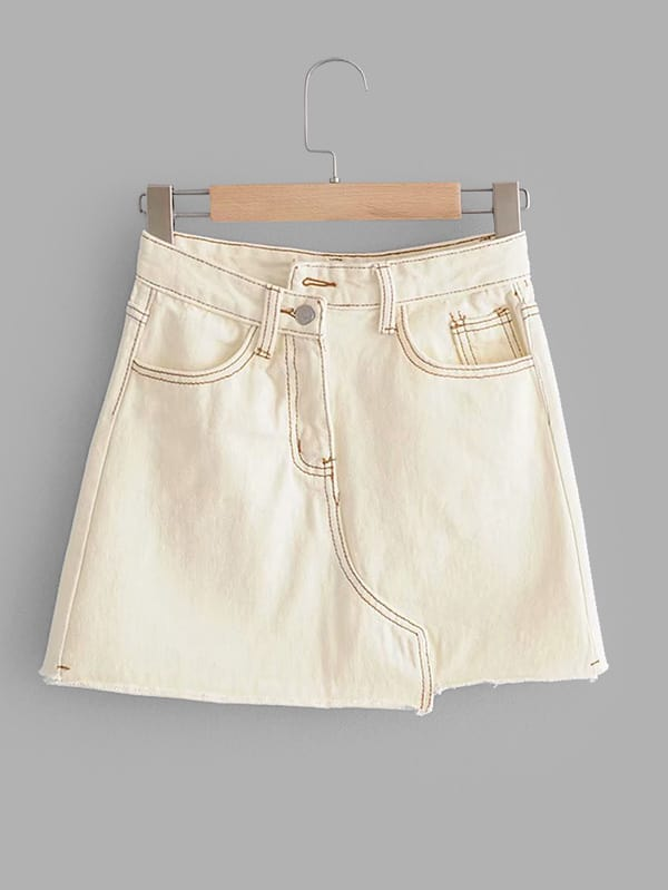 Raw Hem Denim Skirt