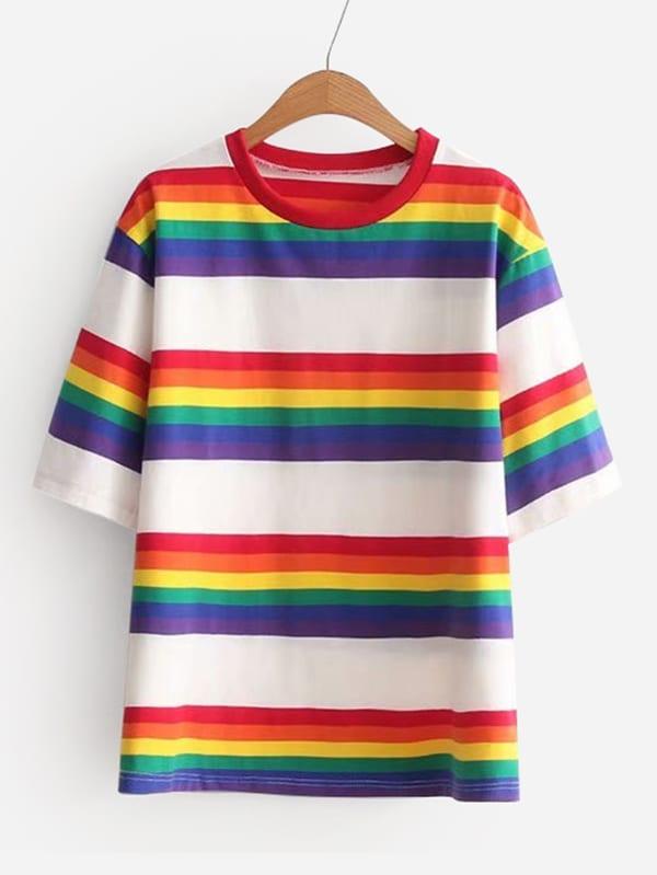 Rainbow Stripe T-shirt short sleeve rainbow stripe t shirt