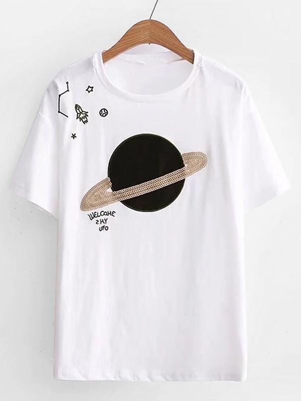 Planet Embroidered Sequin Tee sequin tassel design tee