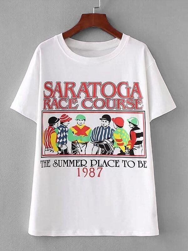 Graphic Print Longline Tee striped longline tshirt