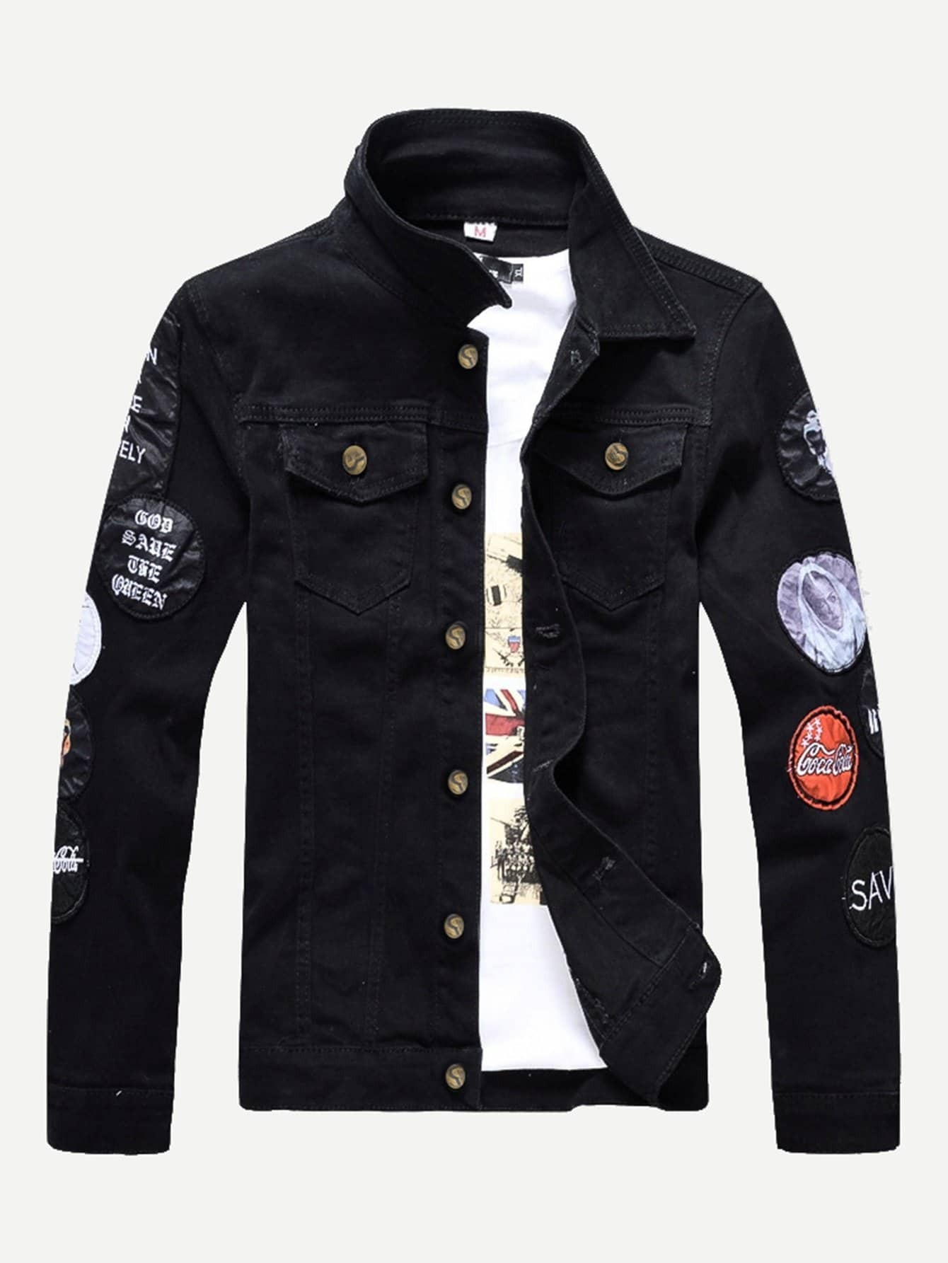 Men Embroidery Patched Letter Print Denim Jacket men embroidery patched denim jacket