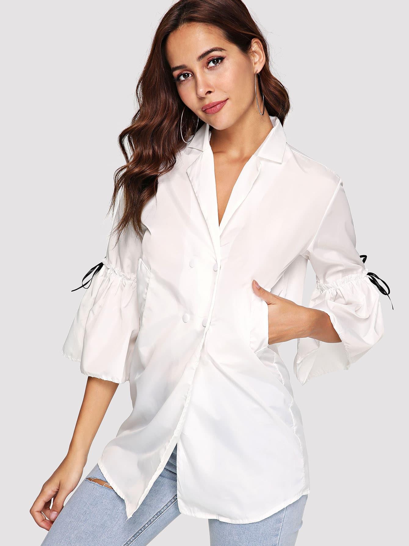 Купить Повседневный Ровный цвет Белый Пиджаки, Giulia, SheIn