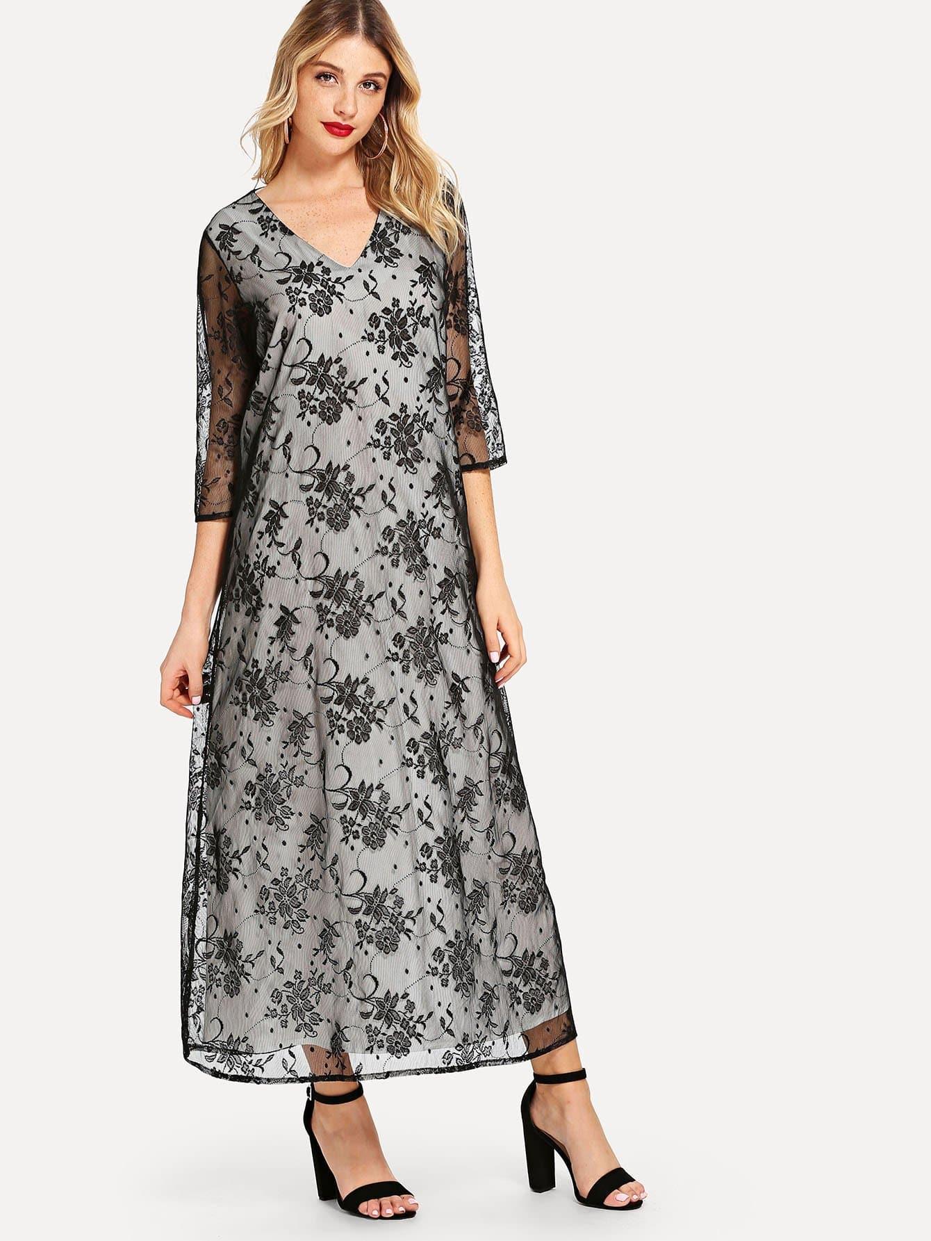 Купить Цветочное платье из кружева с длинными рукавами, Nathane, SheIn