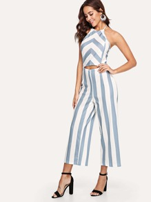 Block Stripe Halter Backless Wide Leg Jumpsuit