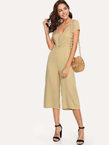 Double Plunge Wide Leg Jumpsuit