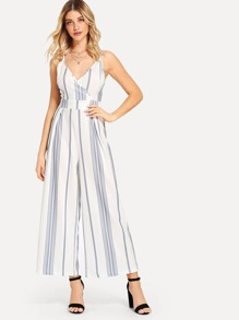 Surplice Wrap Stripe Suspender Jumpsuit
