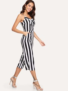 Bow Tie Front Stripe Suspender Jumpsuit