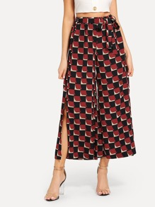 Split Side Tie Waist Plaid Wide Leg Pants