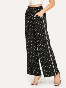 Dot Print Wide Leg Pants