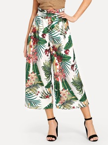 Tropical Print Self Tie Wide Leg Pants