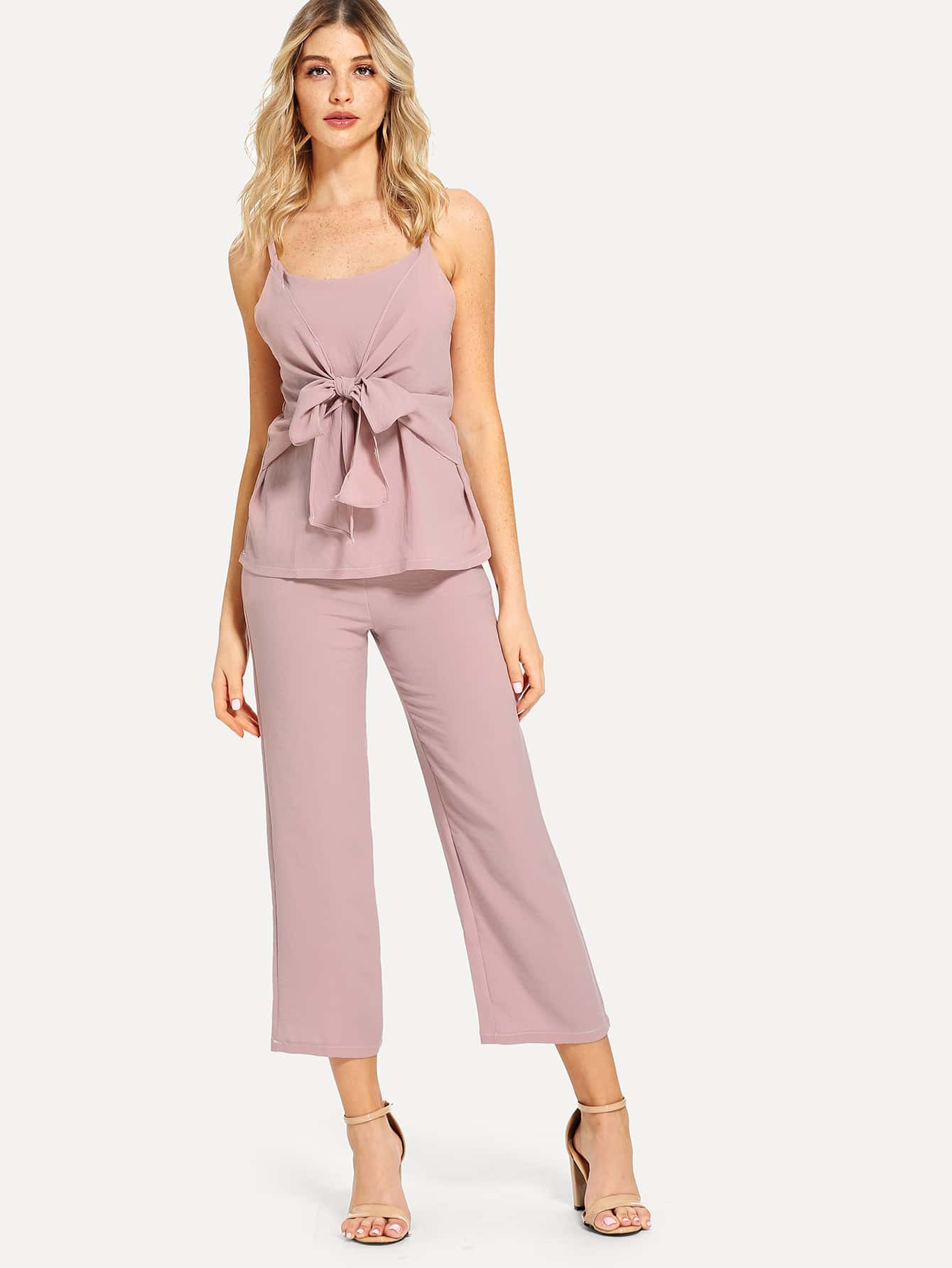 Bow Tie Front Cami Top & Pants frill trim bow tie front pants